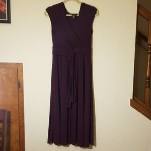 Plum DKNY waist tie dress - stretchy